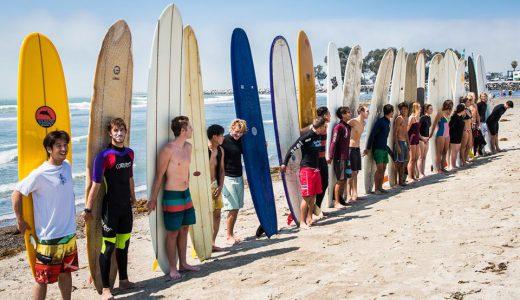 Surfers line up at Doheny State Beach