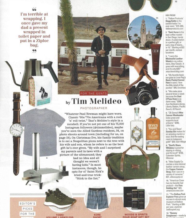 TOMO in SD Magazine gift guide