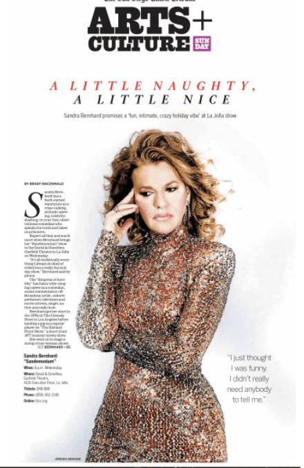 actress sandra bernhard on cover or san diego union tribune