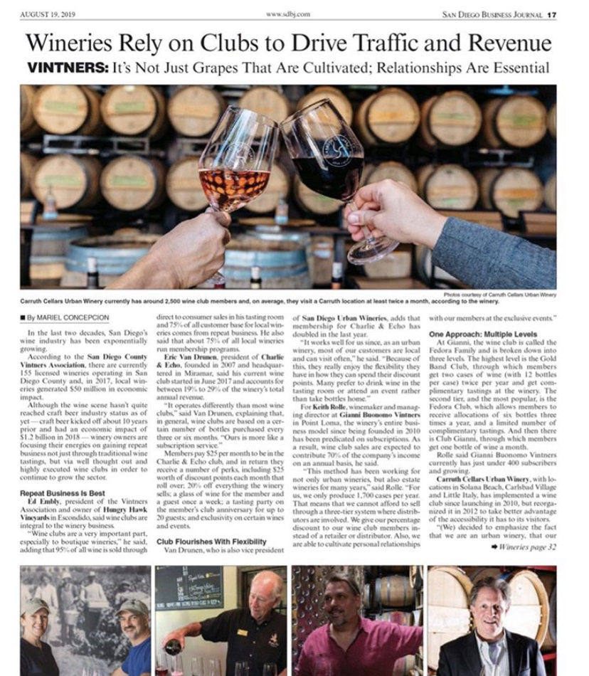 San Diego Business Journal article on Wineries